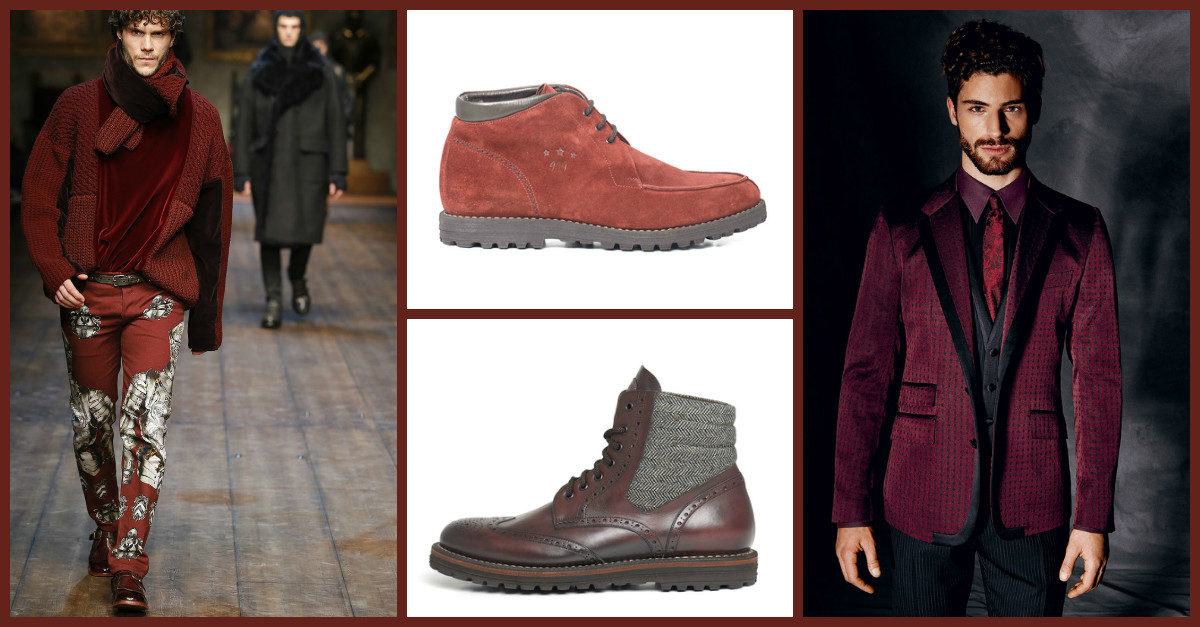 Men's handmade shoes in leather: FW 14-15 paint them red