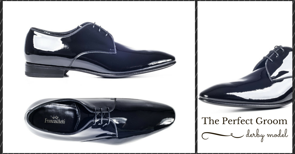 Formal shoes, derby perfect groom by franceschetti in black patent leather
