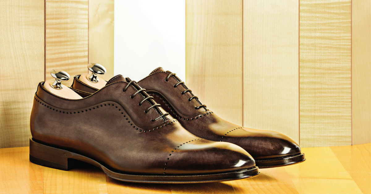 Brown elegant cap toe Oxford boots by Lendvay & Schwarcz in
