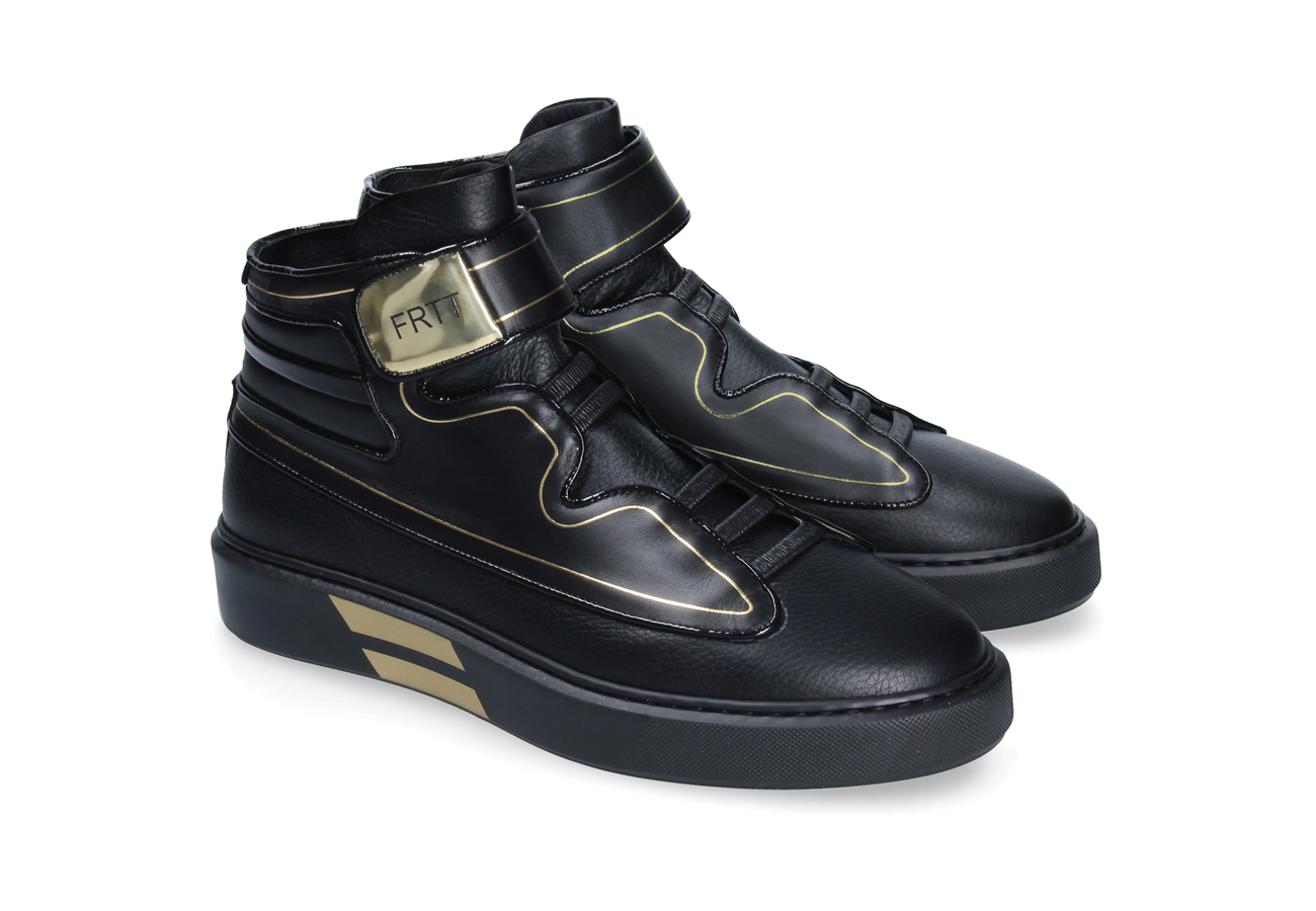 Black & gold high FRTT sneakers