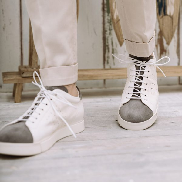 White and gray sneakers